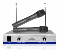 AK-3300 VHF DJ Karaoke Mic Public Address PA Twin Wireless Microphone Singing