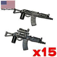 LEGO Guns AKSU-74 Assault Rifle SMG Army SWAT Modern Military Weapon Lot x15