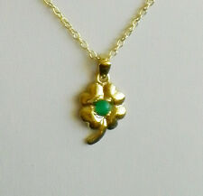 Four Leaf Clover - Shamrock Pendant Necklace with Green Jade ( Gold Plated )