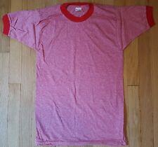 NOS vintage blank shirt ringer M Mayo Spruce red pink 70s 80s deadstock blend