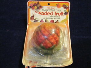 Vtg Fibre-Craft Beaded Fruit Kit Pineapple Old Stock Bead Pin Complete  A47