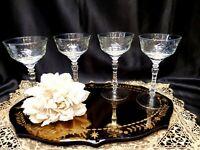 Antique Crystal Floral Etched Cordial / Cocktail Stemware Glasses - Set of 4