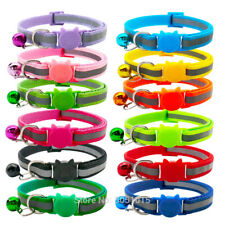 Lot of 12x Breakaway Reflective Cat Collars with Bell Safety Release for Kitten
