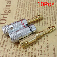 10Pcs Nakamichi Gold Plated Copper Speaker Banana Plug Male Connector  LP