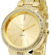 Damen Armbanduhr Gold Crystalbesatz Metallarmband von Excellanc 1800016
