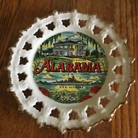 Vtg Alabama souvenir plate Scotty Korea Gold trimmed white Governors Mansion