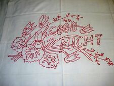 Antique REDWORK EMBROIDERY Layover Pillow Sham GOOD NIGHT Vintage European Size
