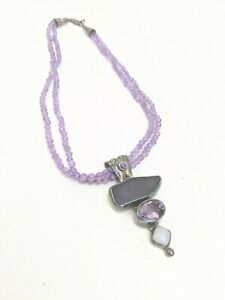 """Echo Of The Dreamer Sterling Silver And Amethyst Necklace 17"""""""