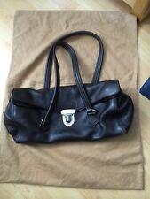 Authentic Prada Dark Brown Leather East West Flap Push Lock Handbag Purse Bag