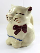 Vintage Shawnee Puss N Boots Creamer Hand Painted Cat Cute Bow Open Mouth