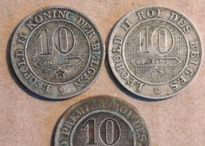 ★★BELGIQUE 3 Pièces de 10 centimes 1861 1894  Léopold II Lot 3