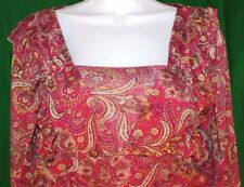 Chadwicks PL Maroon with Tan Paisley Designs Rouched Empire Waist Elastic Wrist