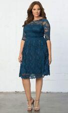 Kiyonna Plus Size 1X Blue Dress Scalloped Luna Lace Style Party Illusion Yoke