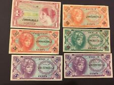 USA  (6 Notes)  5,10,25,50 Cents and 1 Dollar  -- MPC  - Series 641