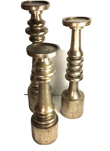 "Set of 3 Large Rustic Pillar Candle Holder Candlesticks Painted Wood 17""  15"" 14"