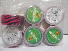 """Lot of 6 New Mini Duck Tape .75"""" Wide X 180"""" Rolls  Pink / Black Zebra Print"""