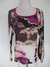 Shirt T-Shirt ORWELL langarm 36 Baumwolle hauchzart fuchsia aubergin wie NEU /B1