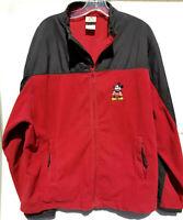 Vintage Disney Store Mickey Mouse Fleece Jacket Sz XL Mens Black Red Zip Front