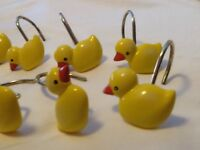 Duck Shower Curtain Hooks, Gold accent  Set Of 12 Bathroom Hooks