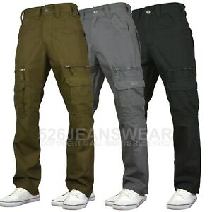 KAM Mens Combat Cargo Casual Outdoor Multi Pocket Relaxed Work Pants, BNWT