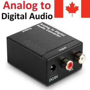 Analog RCA to Digital Optical Coax Audio Adapter Converter Box 3.5mm Jack Cable