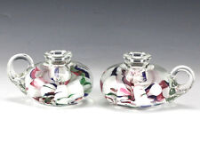 Vintage Pair Italian Murano Art Glass Candlesticks Paperweights ribbons color