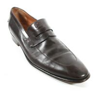 Gucci - Dark Brown Leather Loafers - Slip On Embossed Logo  Mens US 10.5 - 9.5 D