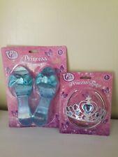 Princess Blue Glitter Play Shoes And Tiara Set