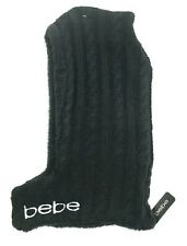 BEBE WINTER HOOD HAT BLACK WARM SOFT CABLE KNIT FAUX SHEARLING Skiing NWT