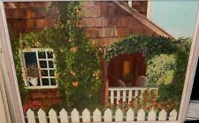 MARY A.RUBY PATIO GARDEN CHAIRS ORIGINAL OIL ON CANVAS PAINTING