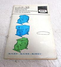 Hatz Diesel 4L30S 4L30Z 4L30C 4L30K 4L40S Engine Spare Parts List Manual
