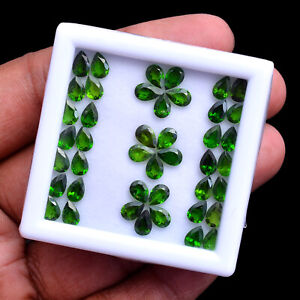 Natural Chrome Diopside 43 Pcs Stunning Vivid Green 6mmx4mm Pear Cut Gemstones
