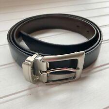 Mens Reversible Leather Belt 44 Brown Black Brass Buckle Made in Canada Vintage