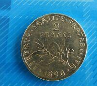 JOLIE PIECE DE 2 FRANCS SEMEUSE 1898 ARGENT/ TTB/ Réf 373