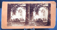 Antique Photo Stereoview Card Dryburgh Abbey Tomb of Sir Walter Scott