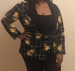 Plus Size Women's Floral Blazer Size 1X   2X   3X