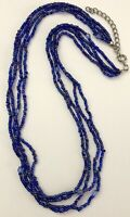 """Multi Strand Blue Beaded Seed Bead Style Collar Fashion Necklace 18.5"""""""