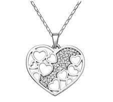 Silver Austria Crystal Rhinestones Rhodium Plated Heart Chain Necklace Pendant