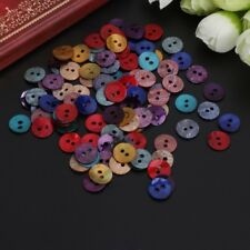 Mini 100Pcs Assorted Color Natural Shell Tiny Round Buttons 2 Holes Sewing 10mm