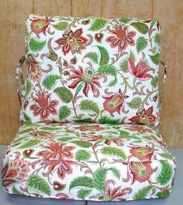 Outdoor Deep Seat Cushion Set ~ Multi Floral Green Rust ~ 26x21x8 / 26x25x8 NEW