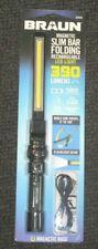 BRAUN SLIM BAR RECHARGEABLE LED WORK LIGHT FLASHLIGHT MAGNET BASE 390 LUMENS