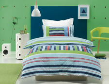 Kids Boys Striped Quilt Doona Cover Pillowcases Set Double Bed Piper Duvet