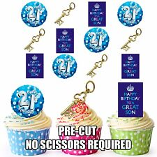 PRECUT 21st Key Sons Birthday Edible Cupcake Toppers Cake Decorations Pack of 12