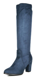 DREAM PAIRS Women Suede/Pu Classic Chunky Heel Platform Knee High and Up Boots
