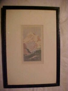 Vintage Dean Babcock Original Wood Cut Print of Tanima Peak 27 No. 59 Framed