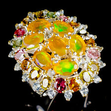Rainbow6x4mm Natural Orange Opal 925 Sterling Silver Ring Size 7.5/R121649