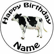 """Personalised Birthday Farm - Cow Round 8"""" Easy Precut Icing Cake Topper"""