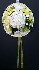 Summer/spring sun straw hat wreath door hanger yellow hibiscus Dahlia flowers