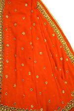 Indian Vintage Dupatta Long Stolen Georgette Hand Beaded Wrap Veil Scarf LD1921