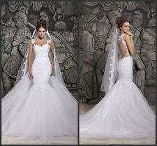 White/Ivory Lace Mermaid Bridal Gown Wedding Dress Custom Size 4 6 8 10 12 14 16